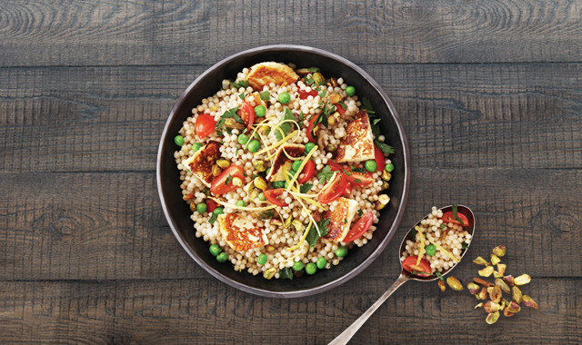 Pearl Couscous Haloumi Salad Recipe We Are What We Eat